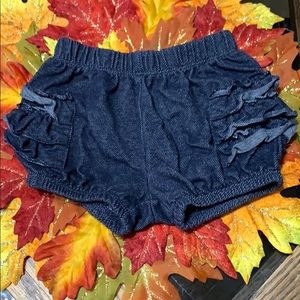 Jean Shorts with Ruffle Sides
